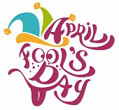 1 April Fools Day. Clowns cap with bells. April Fools Day lettering text for greeting card poster