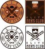 Men's Club Vintage Labels With Cigars And Whiskey Glass