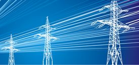 stock photo of power lines  - power lines on electric blue sky background - JPG