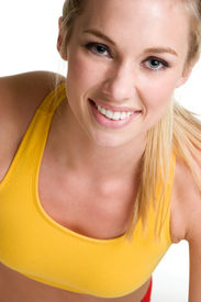 foto of workout-women  - Smiling Blond Woman - JPG