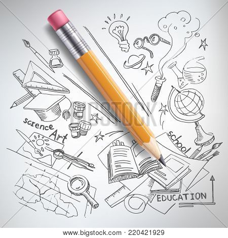 poster of Vector realistic pencil on paper with sketch creative education, science, school hand drawn doodles symbols. Concept of idea, study, research and development. White background illustration