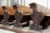 stock photo of pews  - Detailed view of an old wooden church pews - JPG
