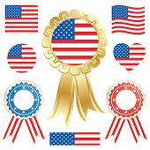 picture of the united states america  - usa flags and rosettes isolated on white - JPG