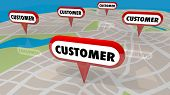Customer Map Pins Locate New Business Prospects 3d Illustration poster