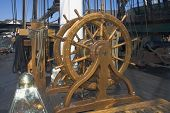 picture of uss constitution  - navigation wheel of an old war ship - JPG