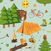 picture of fire ant  - Summer camping seamless pattern in retro style - JPG