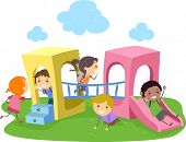 foto of playmate  - Illustration of Kids Playing in a Playground - JPG