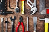 Top View Of Working Tools,wrench,socket Wrench,hammer,screwdriver,plier,electric Drill,tape Measure, poster