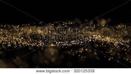 poster of Gold glitter, light particles wave splash on black background. Shining gold sparks, shimmering spark