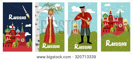 poster of Poster Inscription Russia Collection Cartoon Flat. Historical And Sights Russia, Red Square. Man And