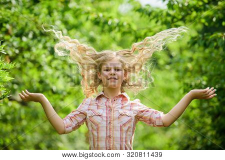 poster of Long And Healthy Hair. Happy Little Girl With Long Healthy Hair. Hair Health And Care. Hairdresser F