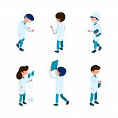 Doctors Isometric. Medical Staff Paramedic Surgeon Ambulance Person Hospital Characters 3d Vector Is poster