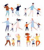 Dancing Family. Kids Playing And Dancing With Parents Mother Father Children Dancers Vector Characte poster