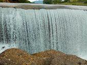 Waterfall Mountain View Close Up. Mountain River Waterfall Landscape. Waterfall River Scene poster