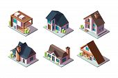 Private House. Residential Modern Buildings 3d Low Poly Constructions Isometric Vector Collection. I poster