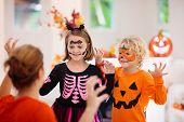 Child And Mother In Halloween Costume. Kids Trick Or Treat. Face Painting For Party Event. Little Bo poster