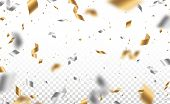 Falling Shiny Golden And Silver Confetti And Pieces Of Serpentine Isolated On Transparent Background poster