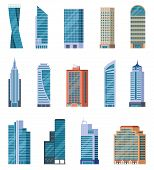Flat Skyscrapers. Exterior Of Modern City Buildings. Residential And Business Office Houses. Downtow poster
