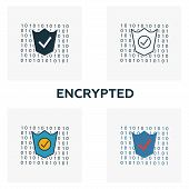 Encrypted Icon Set. Four Elements In Diferent Styles From Crypto Currency Icons Collection. Creative poster