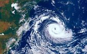 Category 5 Super Typhoon Approaching The Coast. The Eye Of The Hurricane. View From Outer Space  Som poster