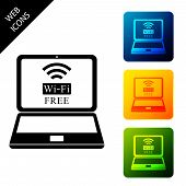 Laptop And Free Wi-fi Wireless Connection Icon Isolated. Wireless Technology, Wi-fi Connection, Wire poster