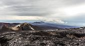 Volcanic Landscape. Lava Plains From Layer Of Solid Lava, Kamchatka Peninsula, Russia poster