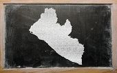 Outline Map Of Liberia On Blackboard