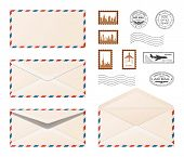 Air Mail Envelope.  Set Various Realistic Envelopes With Postmarks And Postage Stamps . Air Mail,  E poster