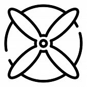 Aircraft Four Blade Propeller Icon. Outline Aircraft Four Blade Propeller Vector Icon For Web Design poster
