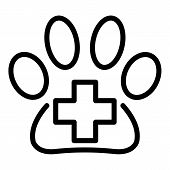 Medical Cross In The Paw Icon. Outline Medical Cross In The Paw Vector Icon For Web Design Isolated  poster