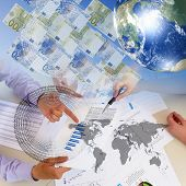 stock photo of stock market data  - Business collage with financial and business charts and graphs - JPG