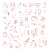 Vector Doodle Icons Spa Elements Set. Hand Drawn Spa And Massage Salon Objects Collection. Candles,  poster