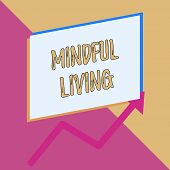 Conceptual Hand Writing Showing Mindful Living. Business Photo Showcasing Fully Aware And Engaged On poster