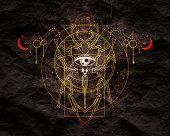 Mystical Geometry Symbol. Linear Alchemy, Occult, Philosophical Sign. Underbreast Sacramental Tattoo poster