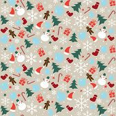 Christmas Seamless Pattern With Snowflakes, Snowman And Christmas Decoration. Happy New Year Multico poster