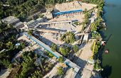 Aerial View Of The Processing Plant With The Sand Fractionator At The Edge Of A Quartz Sand Quarry P poster