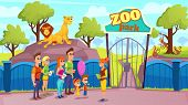 Group People And Guide At Zoo Gate. Animals In Aviary. Vector Illustration. Excursion Zoo. Sunny Day poster