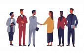 Businessman And Businesswoman Shaking Hands Flat Vector Characters. International Partnership Isolat poster
