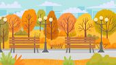 Cartoon Autumn Park. Yellow Trees, City Parks Environment And Nature Panorama. City Autumnal Fall Ga poster