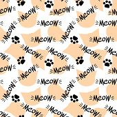 Seamless Pattern With Meow Lettering And Cat Head. Black And Orange Drawing On White Background. Vec poster