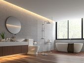 Contemporary Loft Style Bathroom 3d Render,the Room Has Wooden Floor,concrete Tile Wall And Clear Gl poster