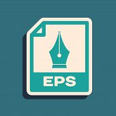 Green Eps File Document. Download Eps Button Icon Isolated On Blue Background. Eps File Symbol. Long poster