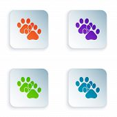 Color Paw Print Icon Isolated On White Background. Dog Or Cat Paw Print. Animal Track. Set Icons In  poster