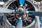 Engine And Propeller Of An Old An-2 Airplane. Old Rusty Iron. Military, Passenger And Agricultural A poster