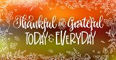 Thankful And Grateful Today And Everyday - Quote. Thanksgiving Dinner Theme Hand Drawn Lettering Phr poster