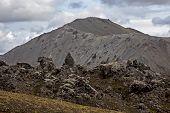 Volcanic Lava Near The Volcano In Landmannalaugar. Iceland poster