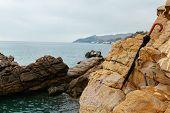 On A Rainy Autumn Day On The Seaside Cliffs A Forgotten Black Umbrella. Crimea, Malorechenskoye. Bea poster