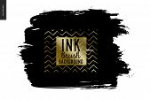 Ink Brush Background - Abstract Vector Illustration. Ink Brush Strokes With Rough Edges, Dry Brush,  poster