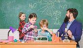 Science Is Always The Solution. Observe Reaction. School Chemistry Experiment. Fascinating Chemistry poster