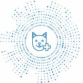 Blue Line Veterinary Clinic Symbol Icon Isolated On White Background. Cross With Cat Veterinary Care poster